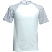 "Футболка ""Short Sleeve Baseball T"", белый с серым_2XL, 100% х/б, 160 г/м2"