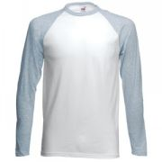 "Футболка ""Long Sleeve Baseball T"", белый с серым_2XL, 100% х/б, 160 г/м2"