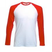 "Футболка ""Long Sleeve Baseball T"", белый с красным_XL, 100% х/б, 160 г/м2"