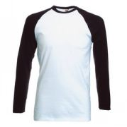 "Футболка ""Long Sleeve Baseball T"", белый с черным_XL, 100% х/б, 160 г/м2"