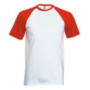 "Футболка ""Short Sleeve Baseball T"", белый с красным_M, 100% х/б, 160 г/м2"